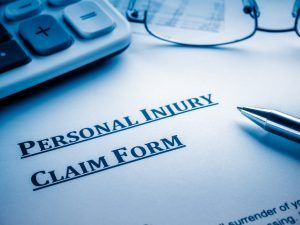 A personal injury claim form