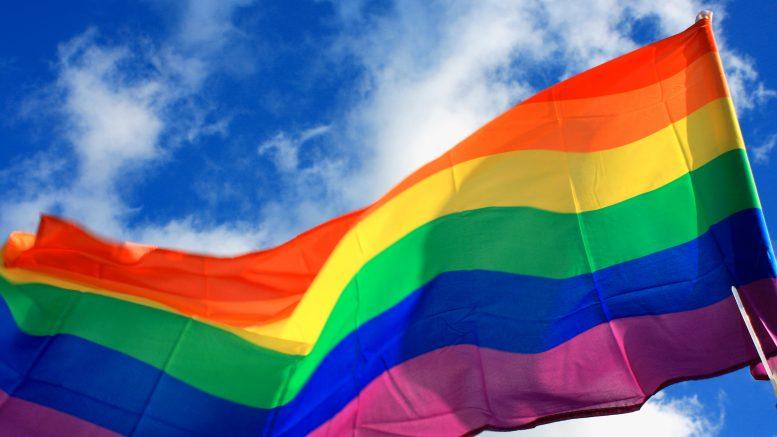 Pride flag raised against sky background