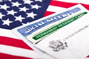 Immigration form and USA flag