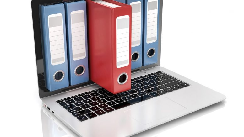 Ring Binders Popping Out of Laptop