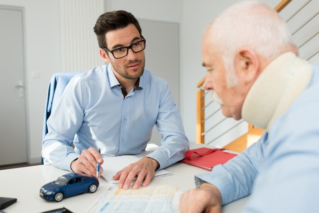 Patient talking to a lawyer